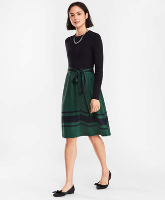 Brooks Brothers Shimmer Wool-Cotton Sweater Dress