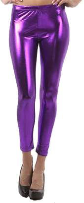 RIDDLED WITH STYLE Womens Stretch Shiny Metallic Legging Ladies Novelty Wet Look Disco Skinny Pants#( Wet Look Metallic Leggings##Womens)