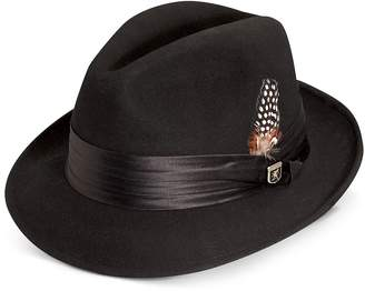 Stacy Adams Men's Wool Felt Fedora With Feather