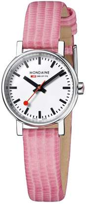 Mondaine Women's 'SBB' Quartz Stainless Steel and Leather Casual Watch, Color:Pink (Model: A658.30301.11SBP)