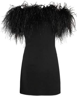 Saint Laurent Off-the-shoulder Ostrich feather-trimmed dress