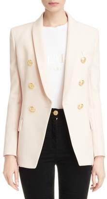 Balmain Long Double Breasted Wool Blazer