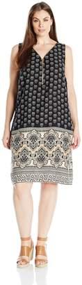 MSK Women's Plus-Size Challi Border Printed Zipper Front Dress