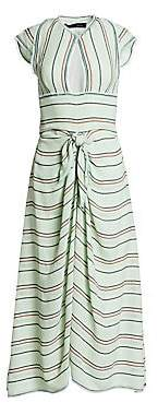 Proenza Schouler Women's Striped Cap Sleeve Tie-Front Midi Dress