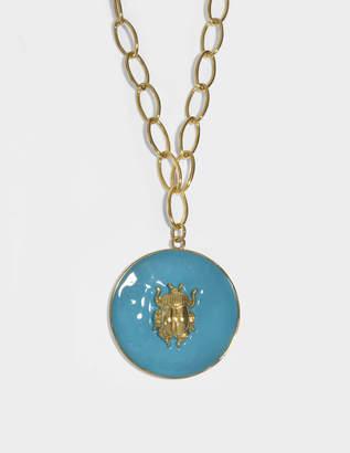Aurelie Bidermann Elvira Scarab Pendant Necklace in Blue Enamel and 18K Gold-Plated Brass
