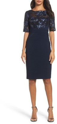 Women's Adrianna Papell Floral Sequin & Jersey Sheath Dress $179 thestylecure.com