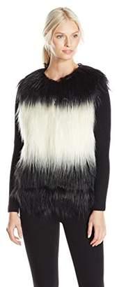Design History Women's Long Hair Faux Fur Dip Dye Coat $121.05 thestylecure.com