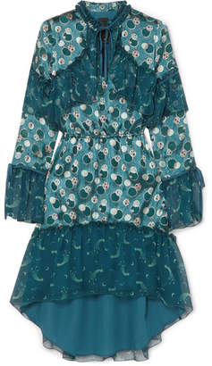 Anna Sui Cosmos Printed Fil Coupé Sateen And Crinkled Silk-chiffon Dress - Petrol