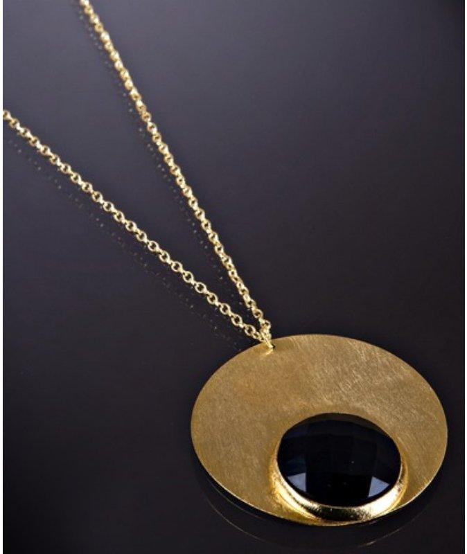 Marcia Moran black agate disc pendant necklace