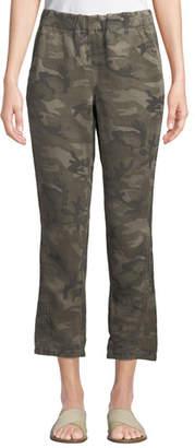 Amo Denim Slouchy Camo-Print Cropped Pants