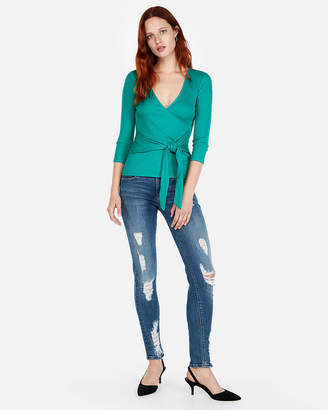 Express One Eleven Modern Rib Wrap Front Tee
