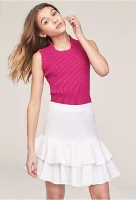 Milly Minis Oxford Shirting Ruffle Tiered Mini Skirt