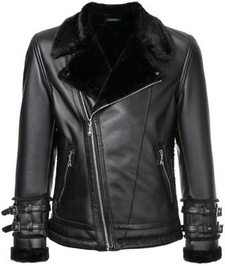 GUILD PRIME fur collar biker jacket