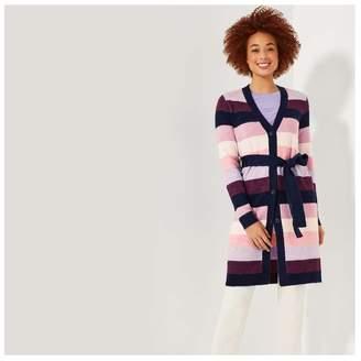 Joe Fresh Women's Stripe Belted Cardi, Purple (Size M)