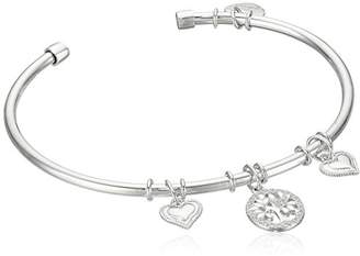 Hallmark Jewelry Sterling & Cubic Zirconia Tree of Life & Heart Charm Flexible Bangle Bracelet