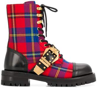 Versace check combat boots