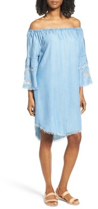 Women's Billy T Off The Shoulder Denim Dress $118 thestylecure.com