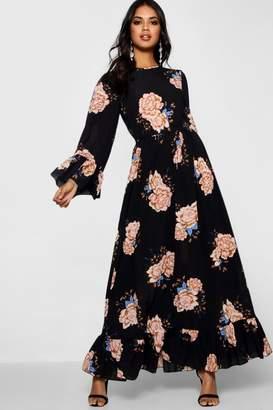 boohoo Ruffle Hem Flared Sleeve Maxi Dress