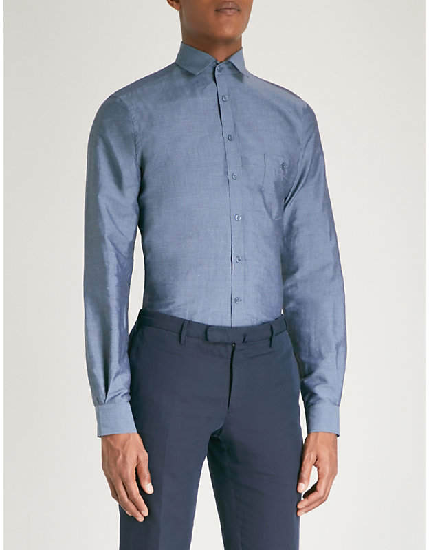DUCHAMP LONDON Tailored-fit linen and cotton-blend shirt
