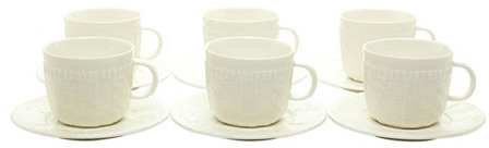 S/6 Sweater Tea Cups & Saucers, White