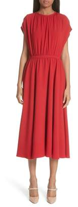 Co Gathered Crepe Midi Dress