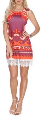 White Mark Women's Greek Printed Crochet Trim Mini Dress