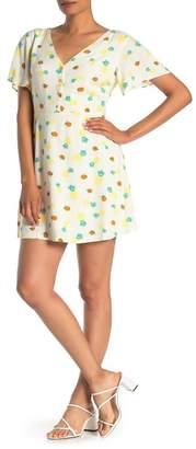 Lush Fruit Print Front Button Dress