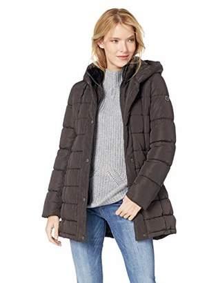 Calvin Klein Women's Walker Length Faux Fur Trimmed