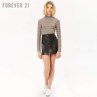 Forever 21 (フォーエバー 21) - フェイクレザーフロントボタンミニスカート