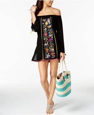 Nanette Lepore Nanette by Isla Marietas Cotton Embroidered Off-The-Shoulder Tunic Cover-Up