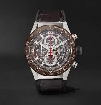 Tag Heuer Carrera Automatic Chronograph 43mm Stainless Steel, Ceramic And Alligator Watch
