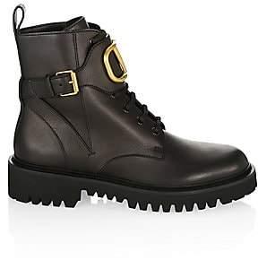 Valentino Women's VLogo Leather Combat Boots