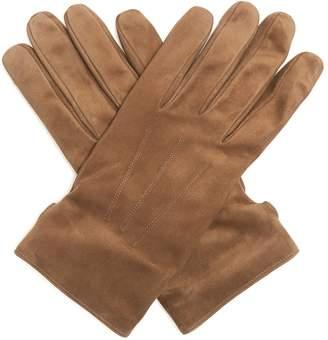 Topstitched suede gloves