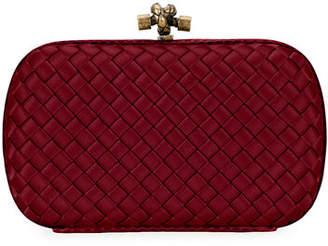 Bottega Veneta Woven Satin Chain Knot Clutch Bag
