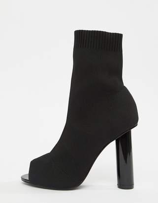 Public Desire Hussle Black Stretch peeptoe Heeled Sock Boots
