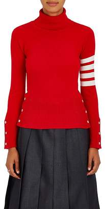 Thom Browne Women's Striped-Sleeve Cashmere Turtleneck Sweater $1,360 thestylecure.com