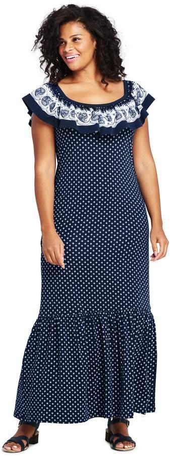 Lands'end Women's Plus Size Sleeveless Print Knit Flounced Shoulder Maxi Dress