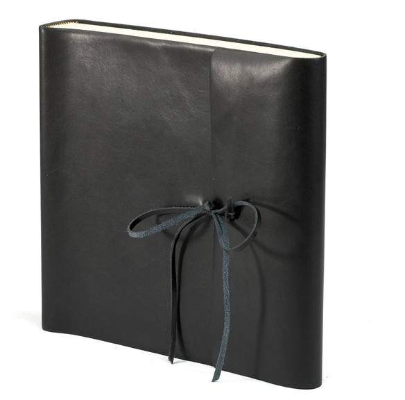 Italian Wrap 14 Photo Album In Black With Cream Pages