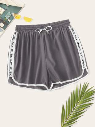 Shein Plus Letter Taped Side Contrast Blinding Dolphin Shorts