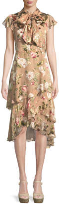 Alice + Olivia Lavenia Tiered Floral Midi Dress