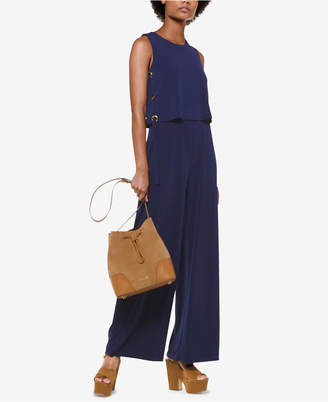 Michael Kors Lace-Up Popover Jumpsuit