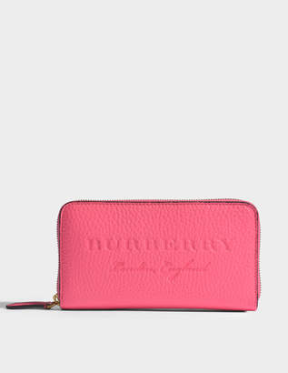 Burberry Zip Around Wallet in Bright Pink Grained Calfskin