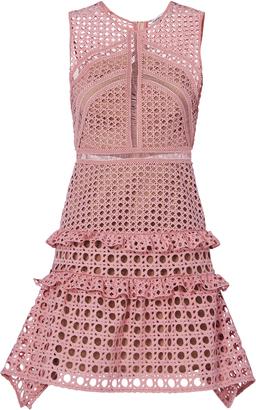 Self-Portrait Crosshatch Frill Mini Dress Pink 2