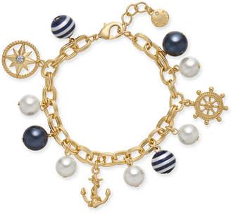Charter Club Gold-Tone Crystal, Imitation Pearl & Bead Nautical Charm Bracelet, Created for Macy's