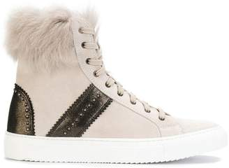 Eleventy hi-top fur detail sneakers