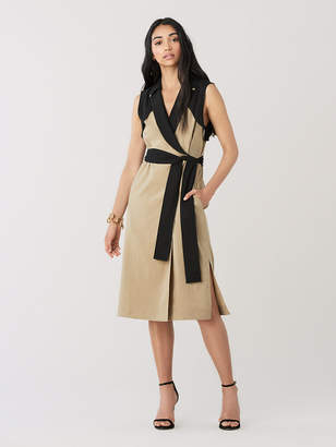 Diane von Furstenberg Agusta Stretch-Linen Wrap Dress
