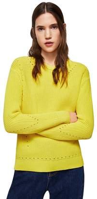 MANGO Yellow Openwork Detail 'Genzo' Knitted Sweater