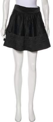 L'Agence Textured Flare Mini Skirt