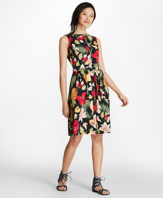 Brooks Brothers Tropical-Print Stretch Cotton Poplin Dress