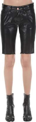 we11done We11 Done Half & Half Coated Cotton Denim Shorts